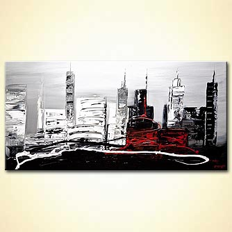 Cityscape painting - The Red Building