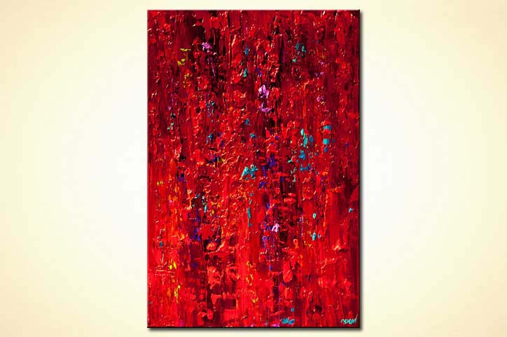 Painting original contemporary red abstract painting for How to paint with a palette knife with acrylics