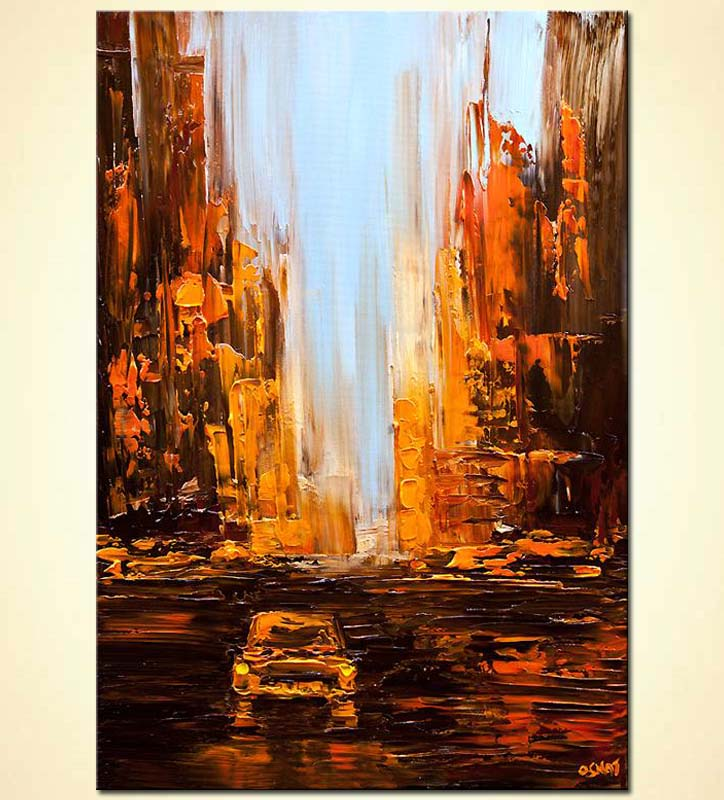taxi painting city abstract art textured