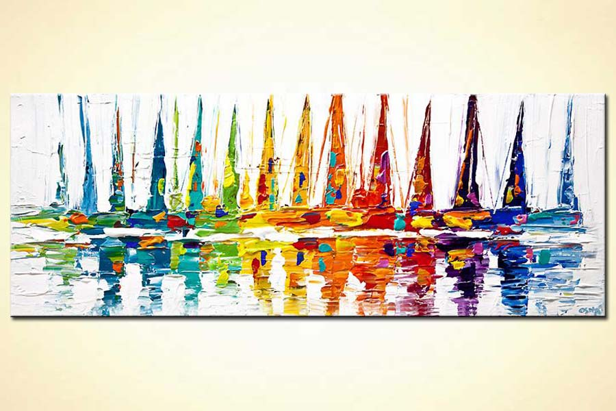 colorful sailboats abstract painting