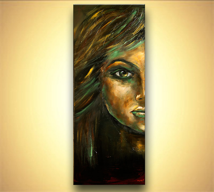 Green woman portrait painting