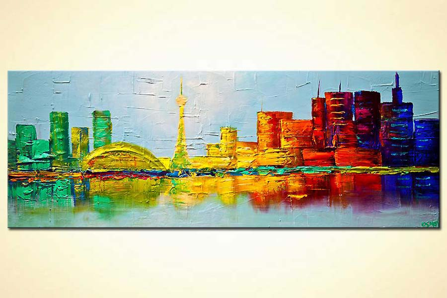 Toronto skyline painting original abstract city painting