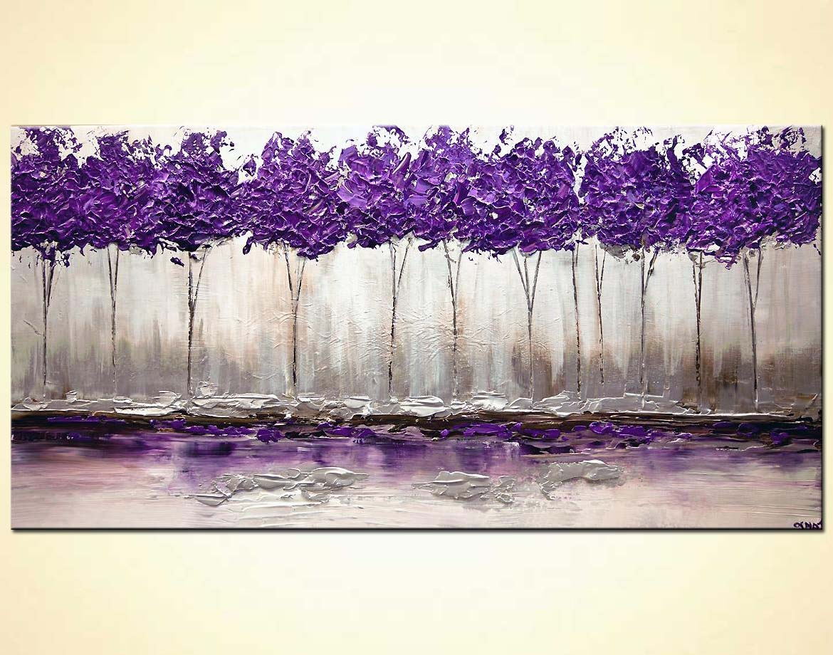 purple trees painting textured silver modern palette knife home decor
