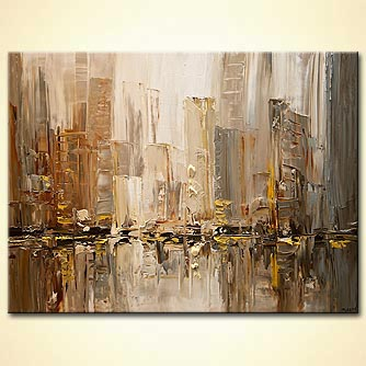 original contemporary city abstract modern palette knife painting