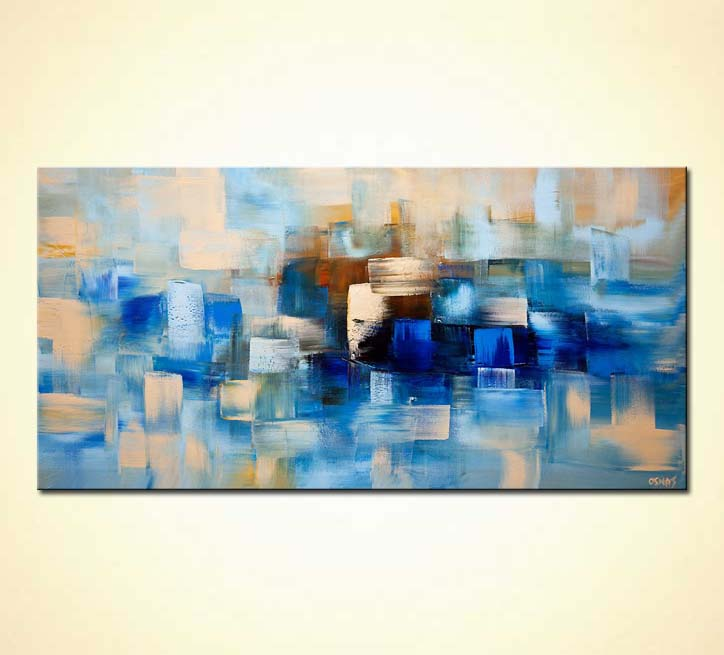 blue contemporary abstract painting home decor