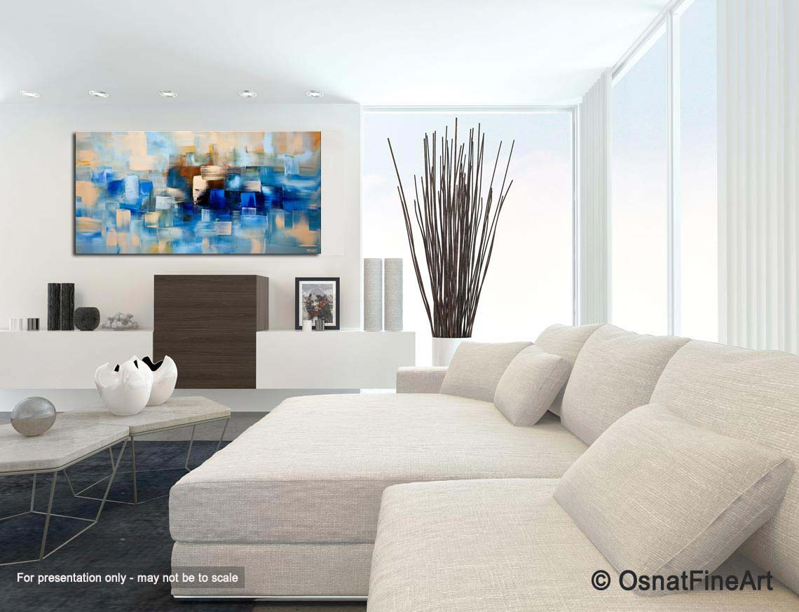 Blue Contemporary Abstract Painting Home Decor Modern Artwork Thumbnail