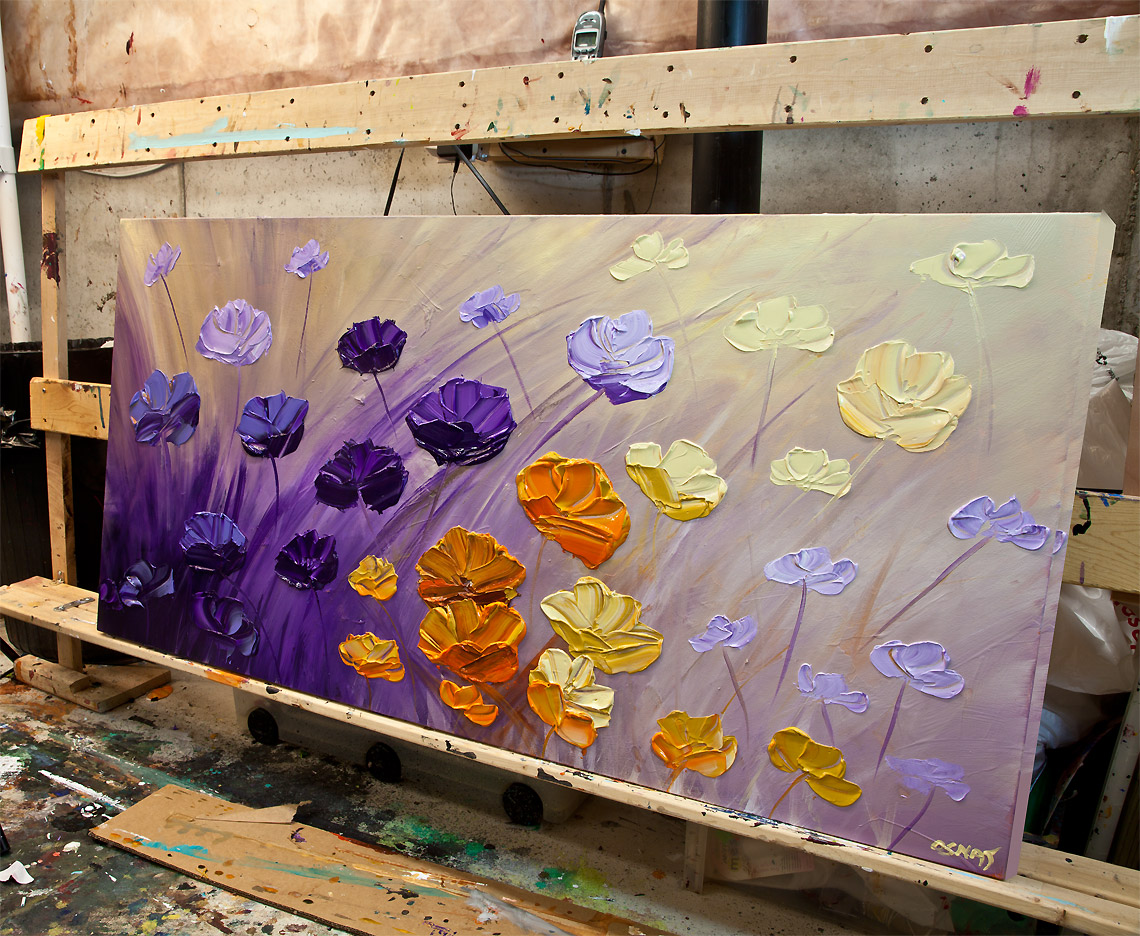 Painting purple flowers painting original textured for Purple and yellow painting
