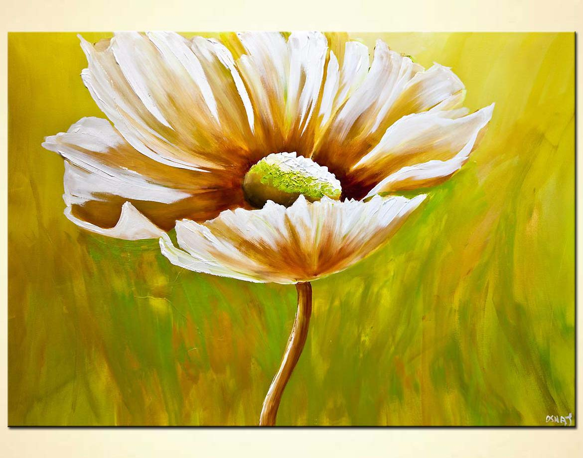 Painting abstract daisy flower painting green 7820 for Flower paintings on canvas