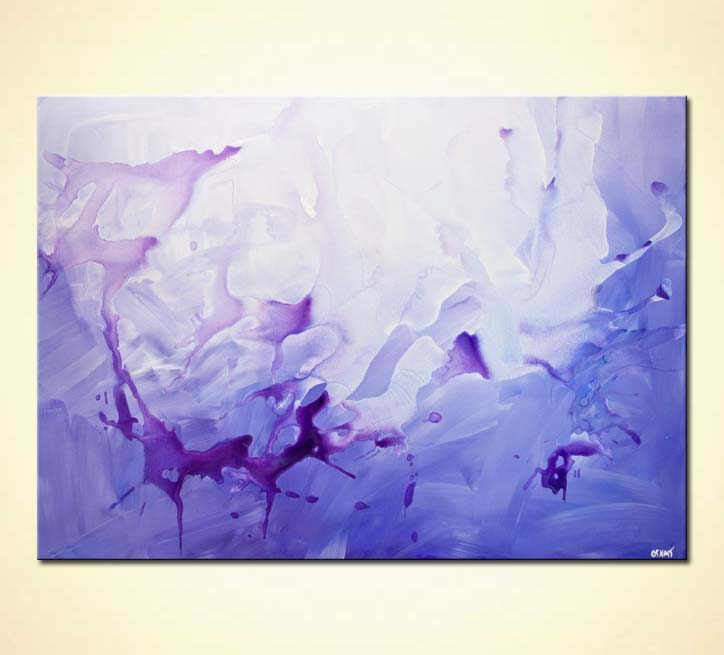 contemporary purple blue abstract art home decor