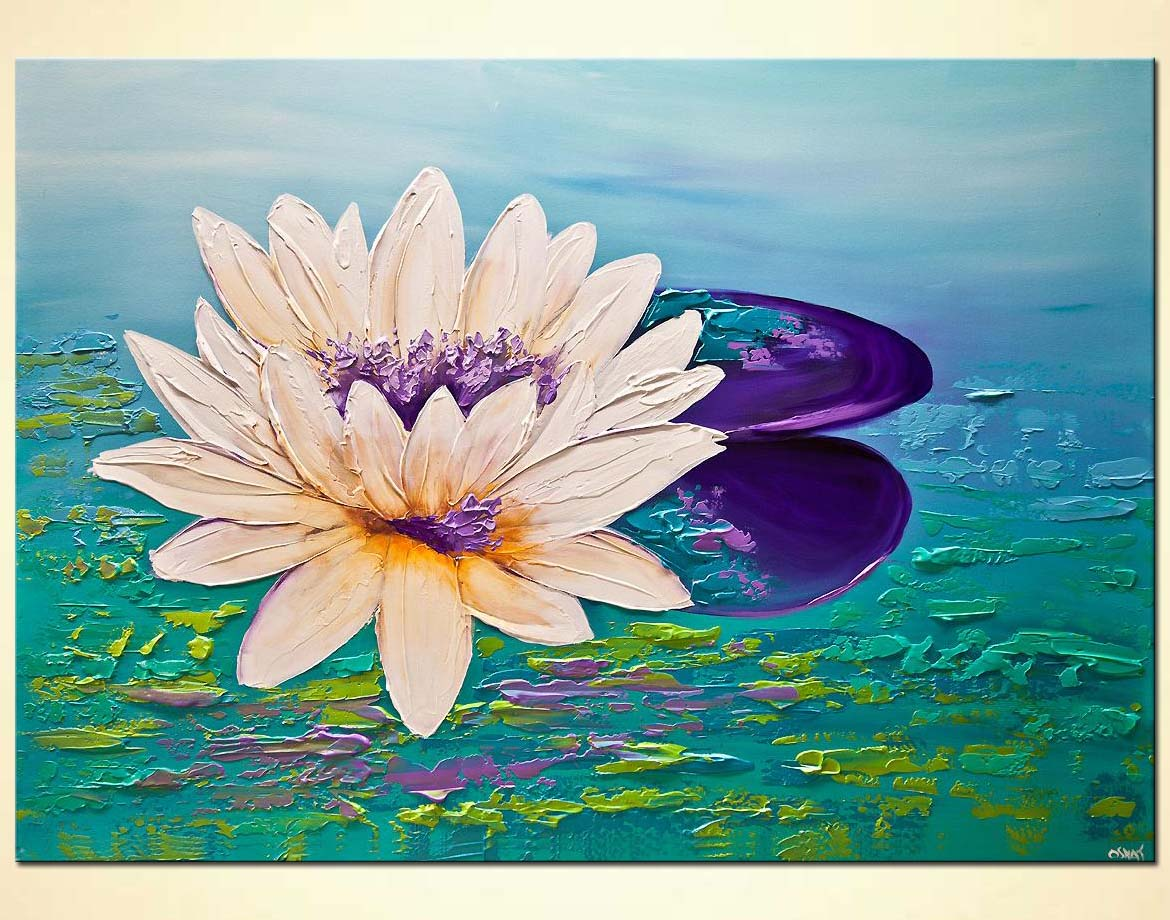 Painting lutos flower contemporary modern floral for Flower paintings on canvas