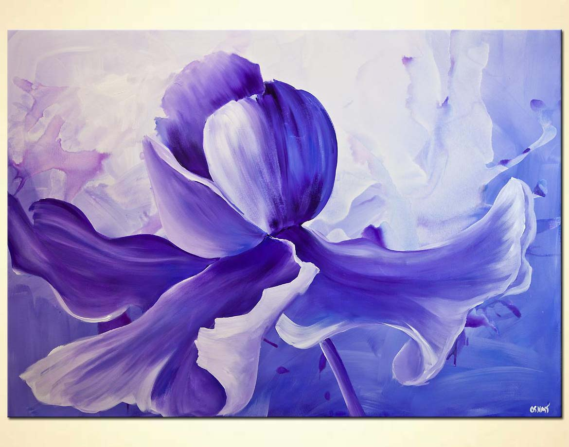 Painting modern purple iris flower painting 7828 for Flower paintings on canvas