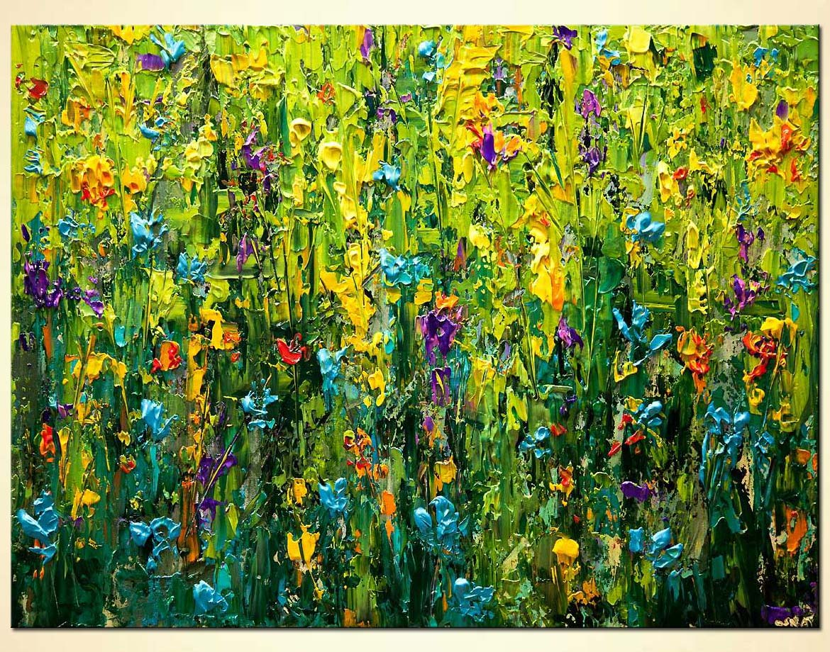 Painting - modern textured blooming flowers clorful painting #7831