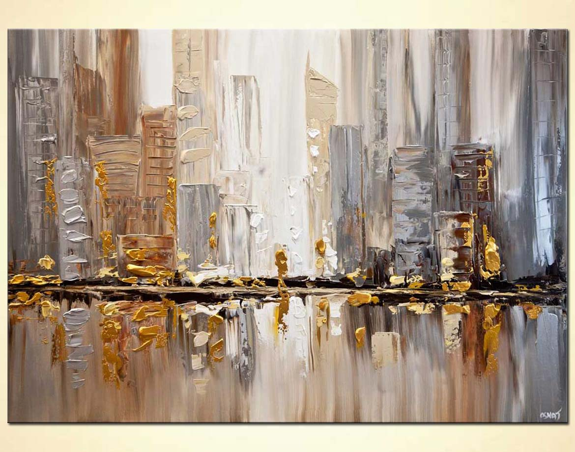 buy original gold silver cityscape painting modern palette knife 7846. Black Bedroom Furniture Sets. Home Design Ideas