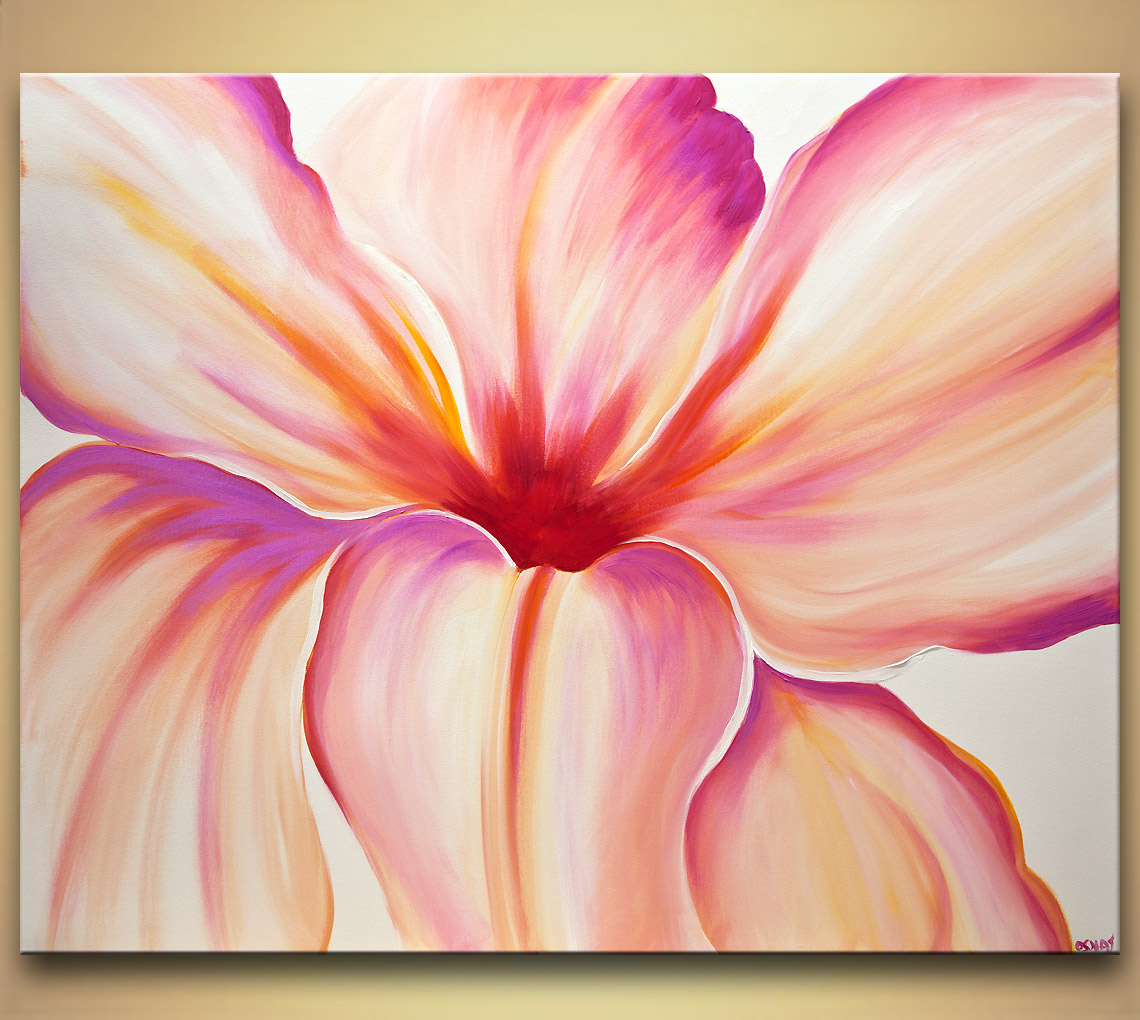 Painting white pink flower modern art home decor 7842 for Flower paintings on canvas