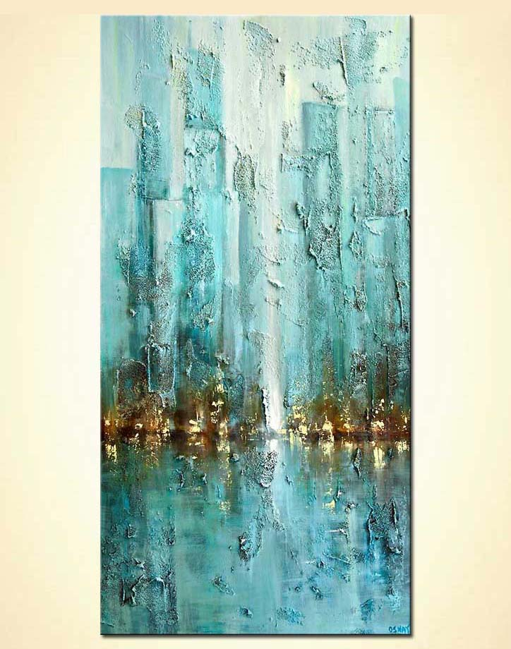 contemporary city painting modern palette knife blue abstract city