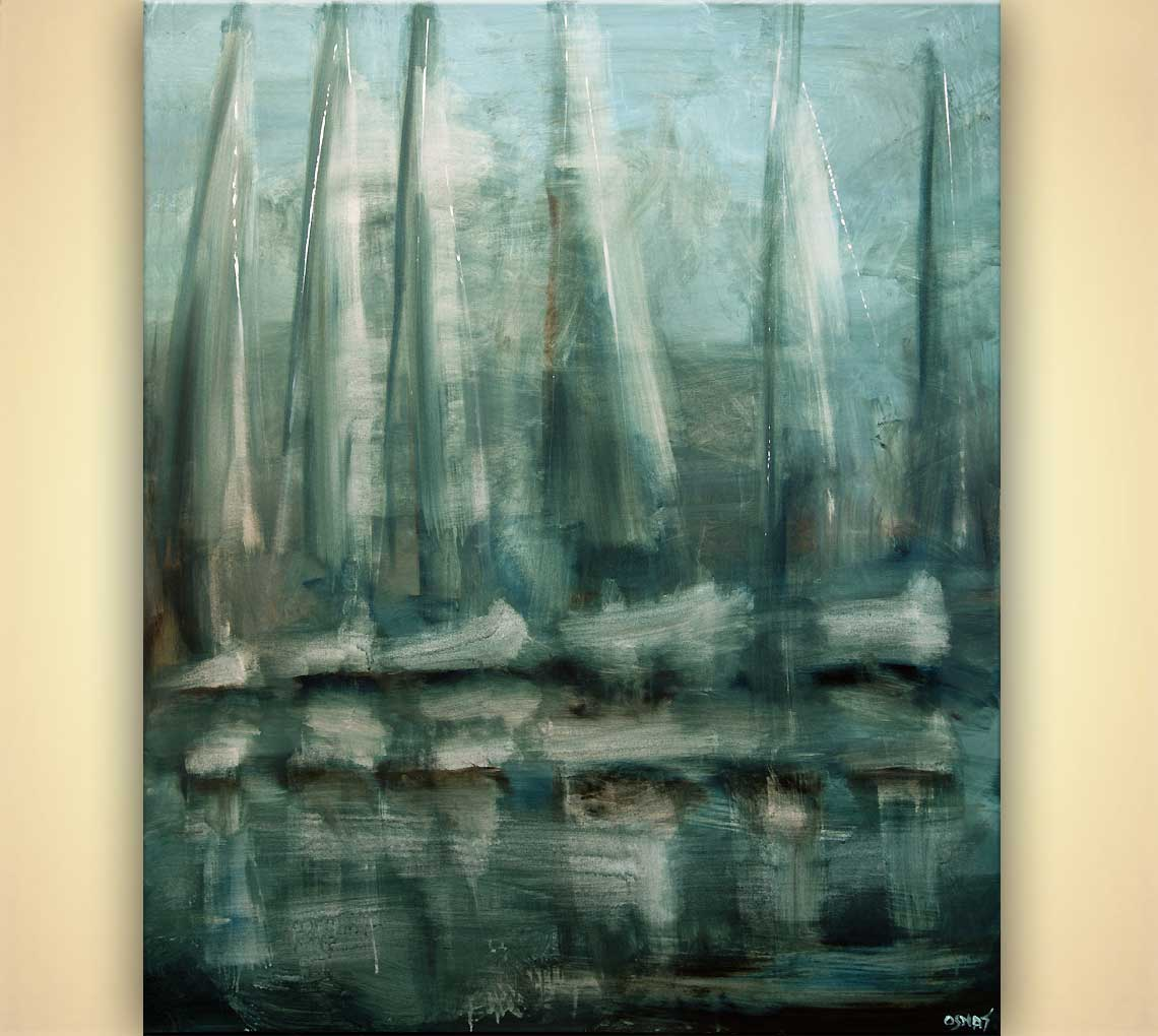 Painting Contemporary Modern Sailboats Abstract Painting