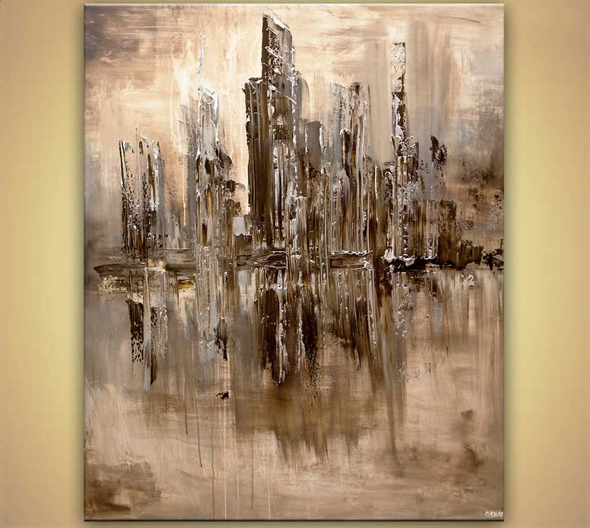 Cityscape painting cream brown abstract art home decor 7865