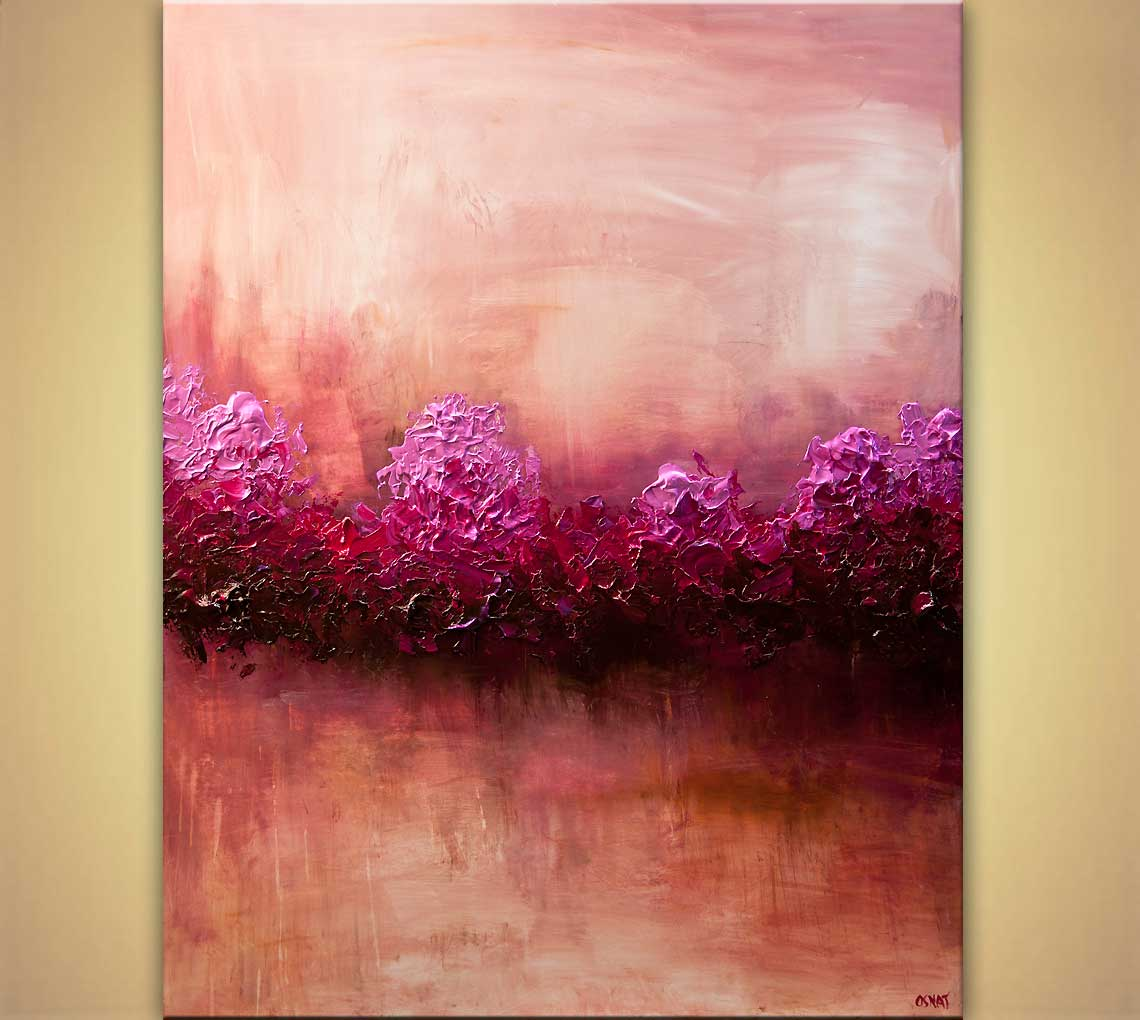 Painting large modern pink abstract art home decor 7864 for Modern paintings for home