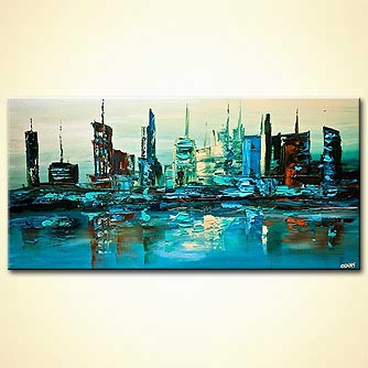 contemporary abstract city modern palette knife painting