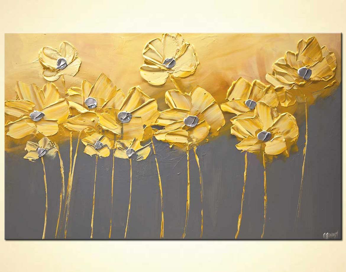 Painting For Sale Yellow Gray Flowers Gray Background