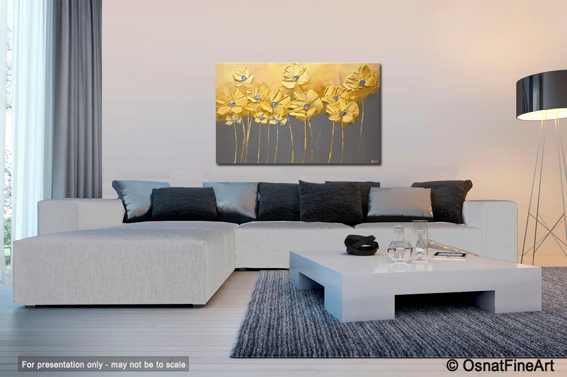 Painting For Sale Yellow Gray Flowers Gray Background Painting