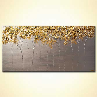blooming trees painting modern palette knife silver gold painting