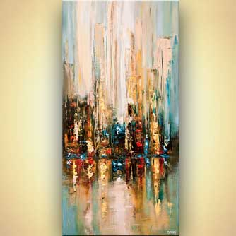 modern palette knife abstract city painting wall hanging