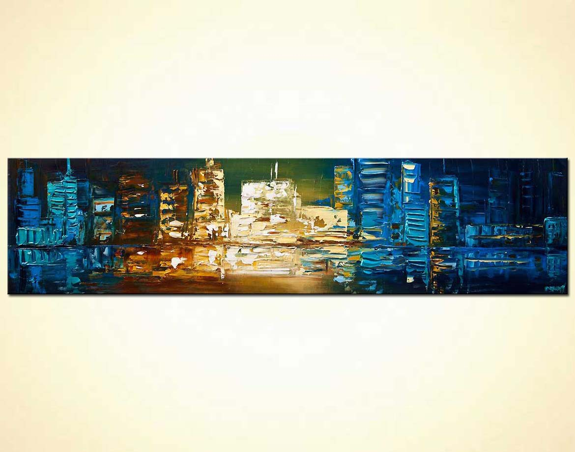 Painting - modern palette knife blue city abstract painting #7935