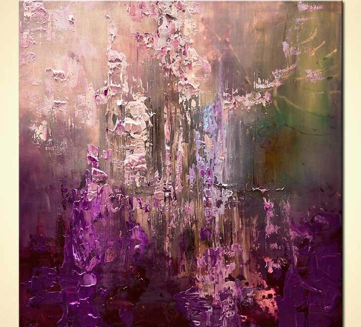 painting purple abstract art modern palette knife 7940