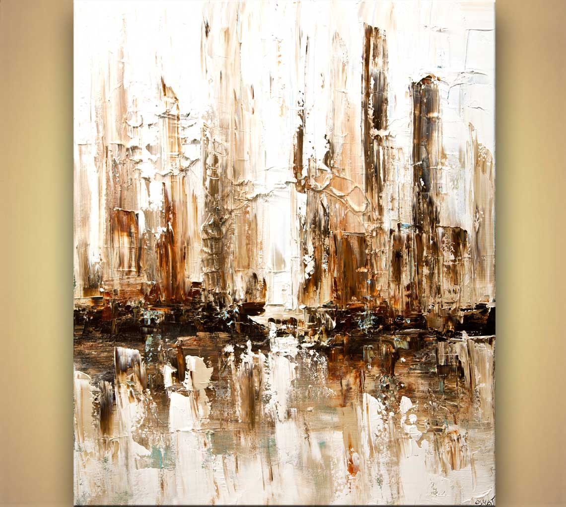 Painting white abstract city home decor 7910 for White canvas to paint