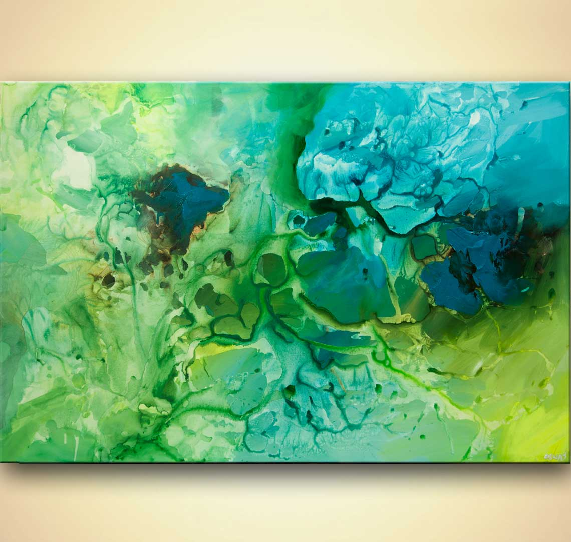 Painting big contemporary green blue teal abstract art 7963 for Blue paintings on canvas