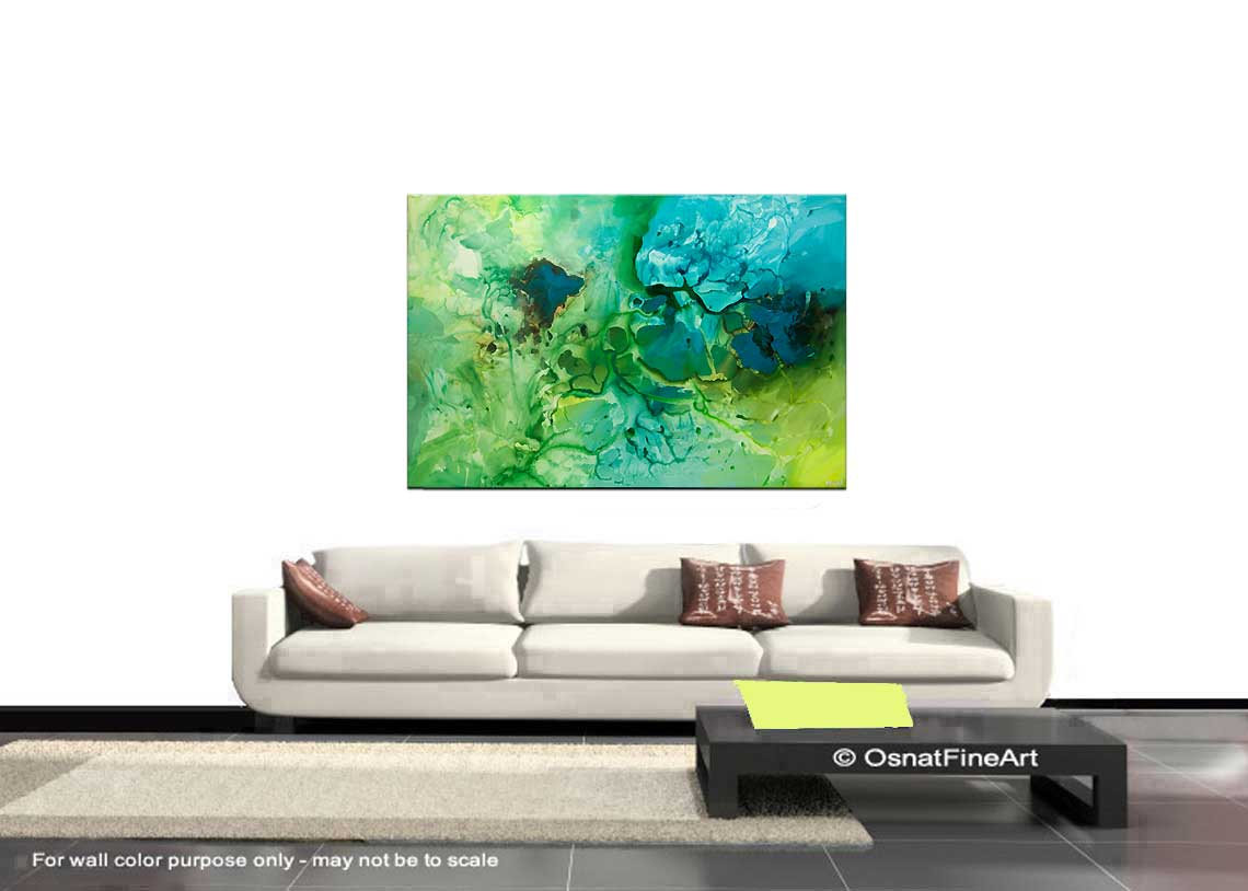 Painting - big contemporary green blue teal abstract art #7962