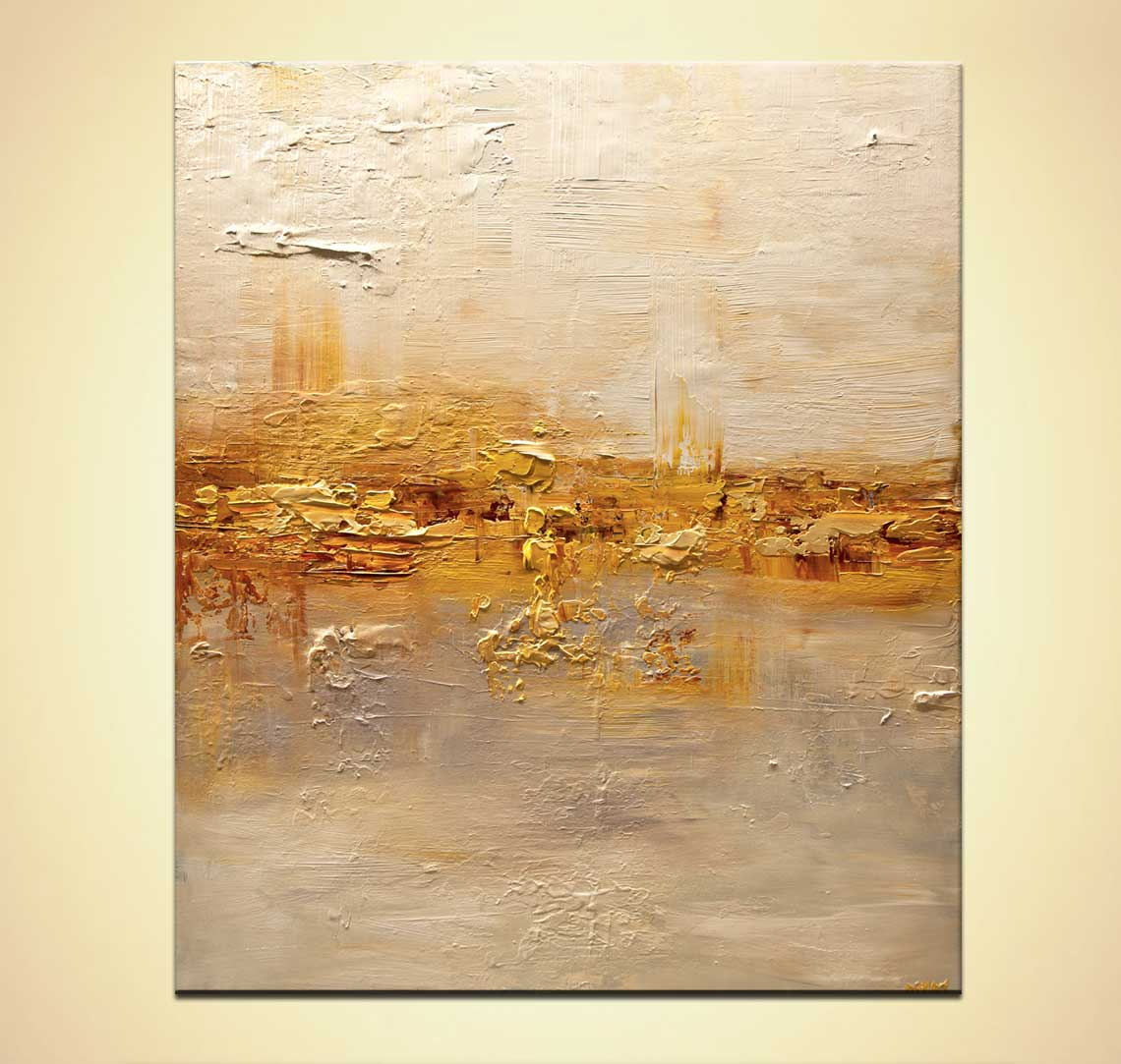 Painting For Sale Gold Cream Textured Modern Abstract