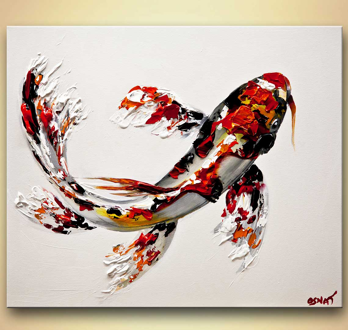 Painting koi fish painting textured 8015 for Koi prints canvas