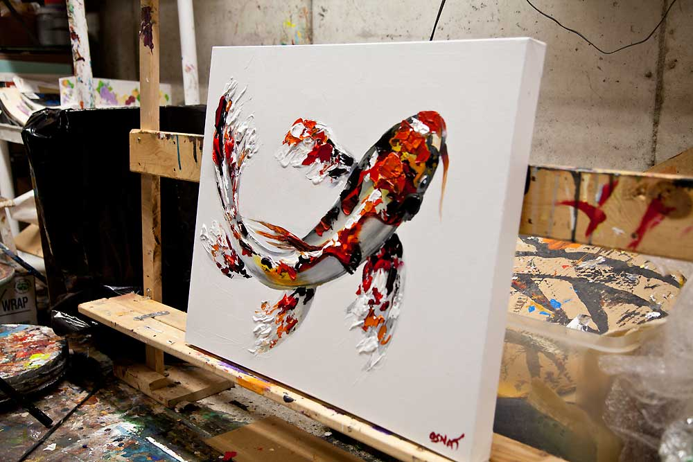Painting koi fish painting textured 8016 for Koi artwork on canvas
