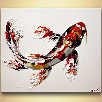 Painting koi fish painting textured 8015 for Japanese fish painting