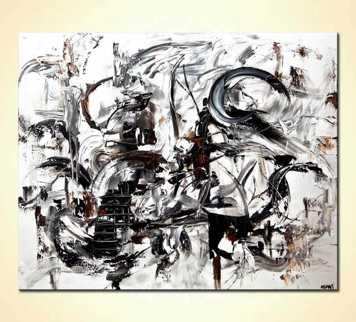 Modern white black abstract art palette knife