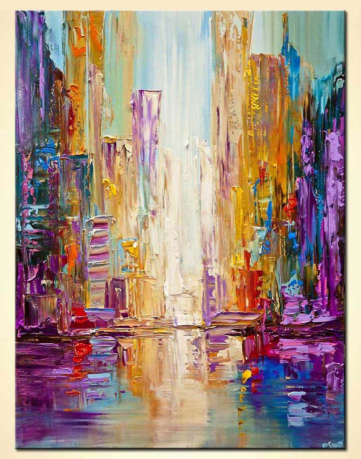 Bangkok city painting colorful texture modern city painting