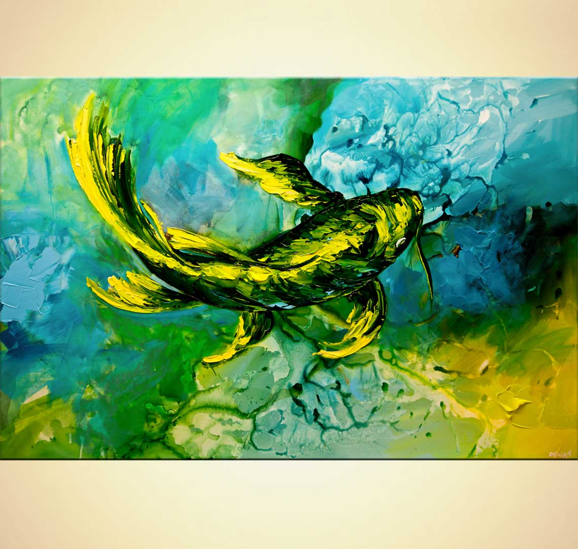 modern abstract art - Yellow Koi Fish