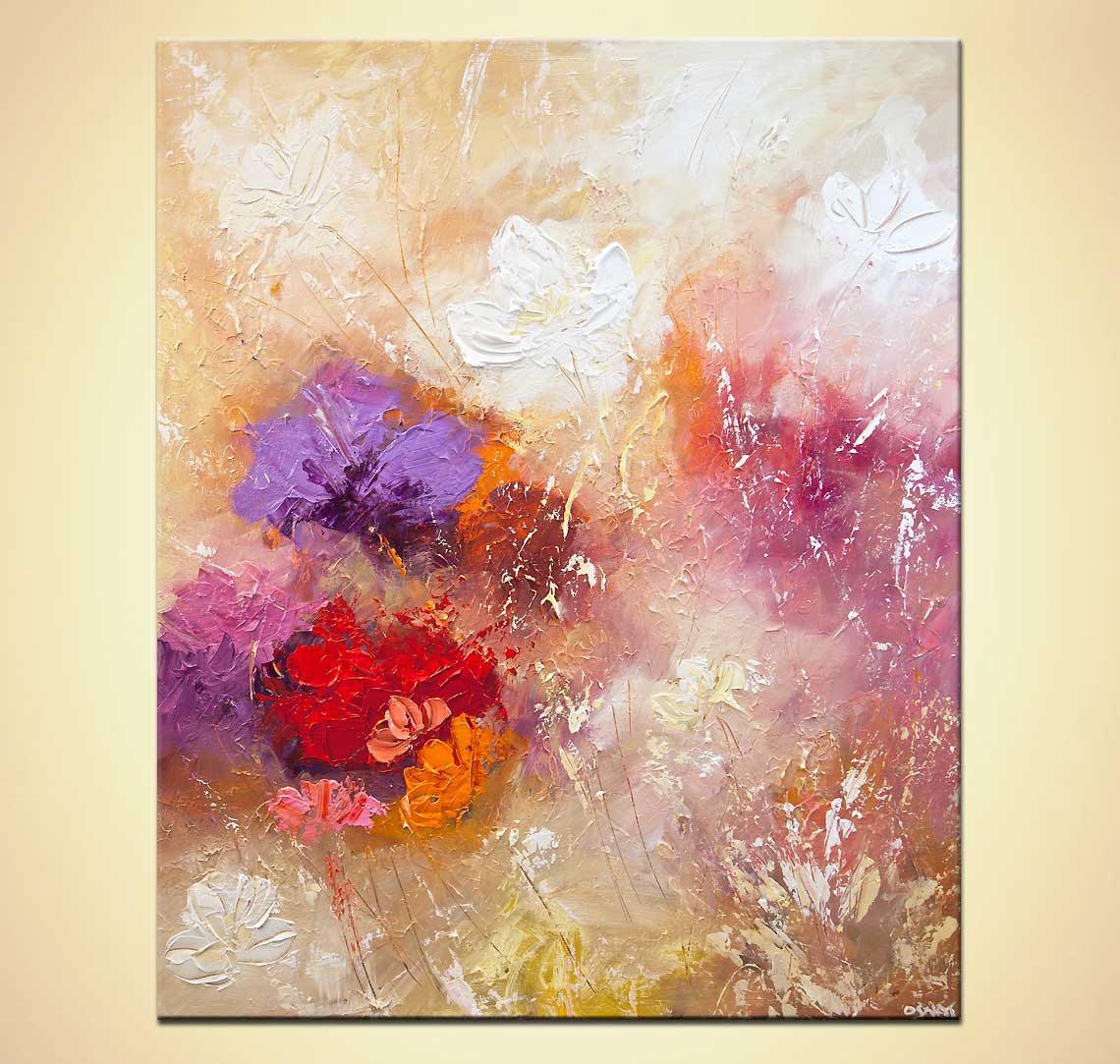 Painting modern floral painting textured palette knife for Painting large flowers in acrylic