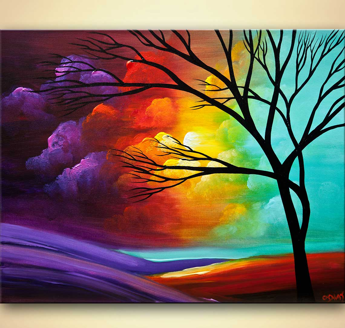 Painting - modern landscape tree painting #8034