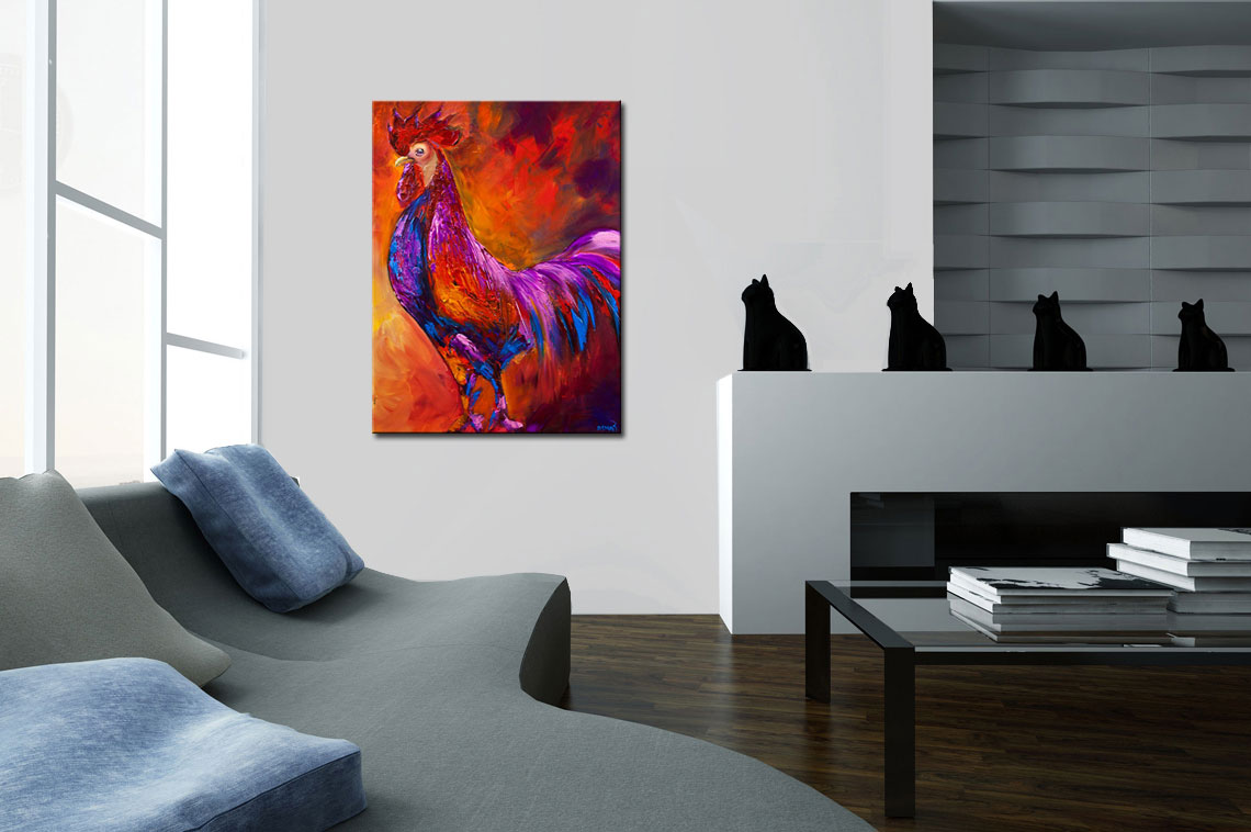 modern rooster painting textured palette knife