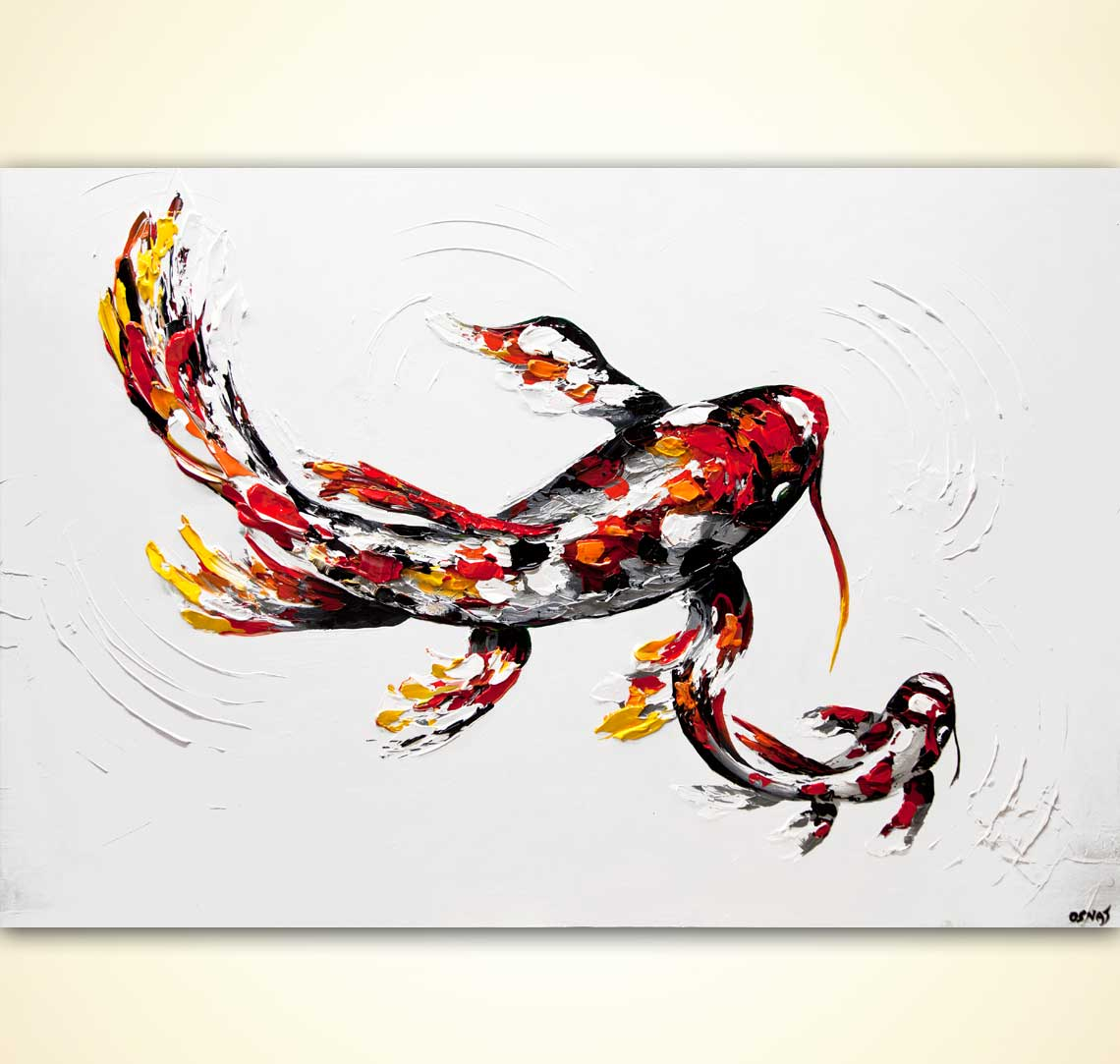 Red koi fish painting 60 x 40 textured palette knife for Coy poisson