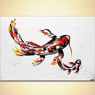 modern abstract art - Red Koi Fish