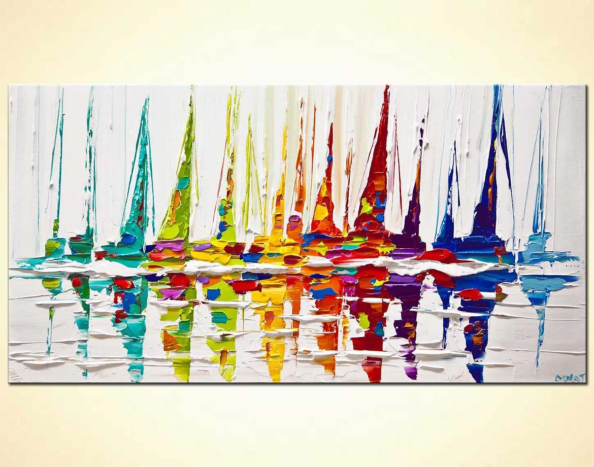 sailboats painting colorful palette knife art