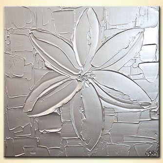 modern abstract art - Silver Flower