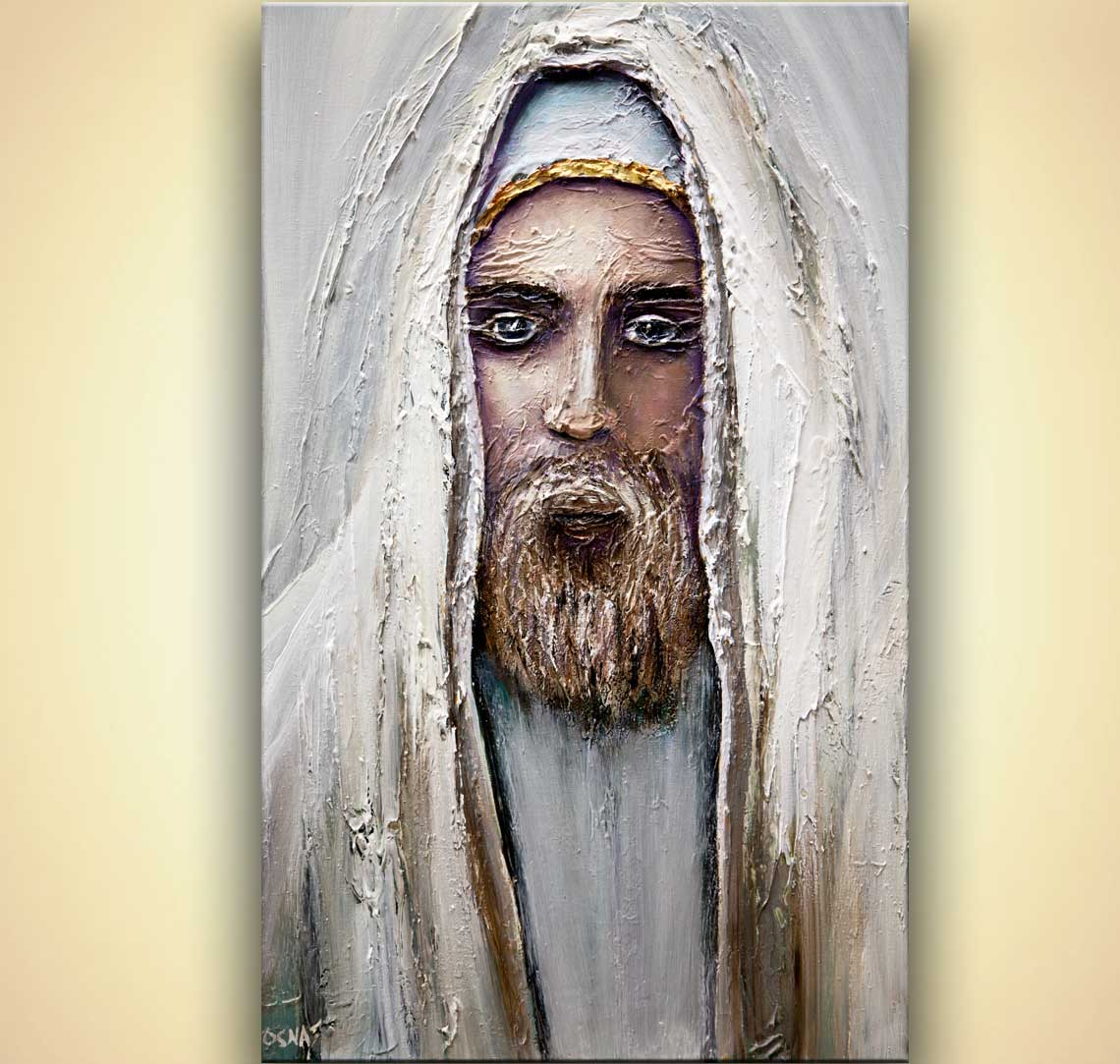 rabbi painting textured religious  figure painting