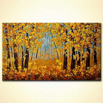 indian summer painting modern texture landscape trees painting