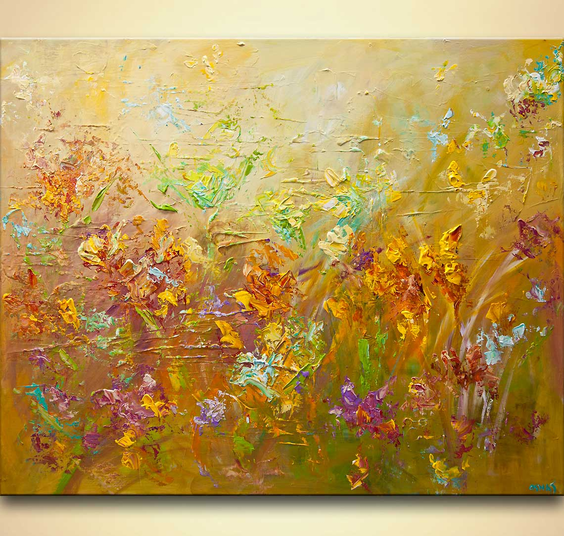 modern abstract flowers painting contemporary colorful palette knife painting