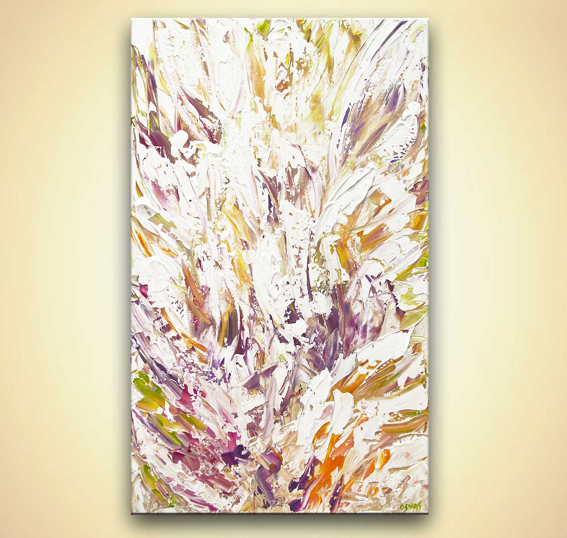 modern floral abstract painting palette knife